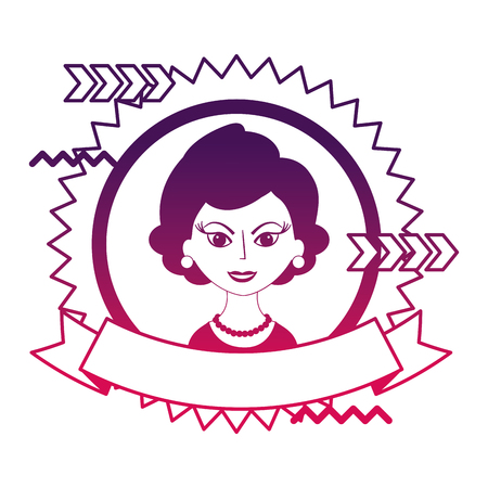beautiful woman character classic style stamp vector illustration neon design