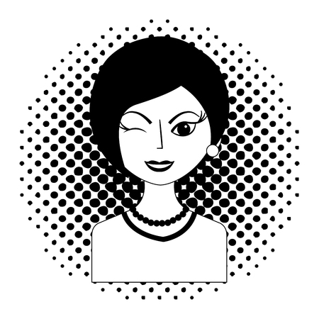 winking woman portrait character pop art vector illustration black and white Illustration