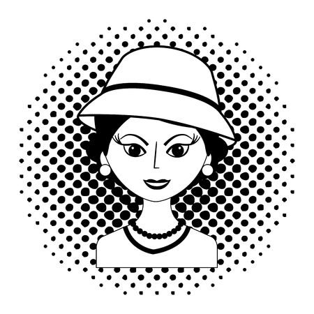 fashionable woman with hat retro style pop art vector illustration black and white Banque d'images - 102243416