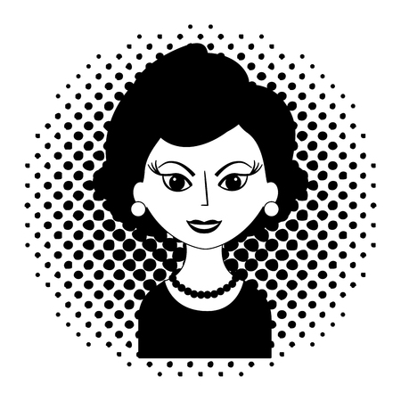 beautiful woman character classic style pop art vector illustration black and white 向量圖像