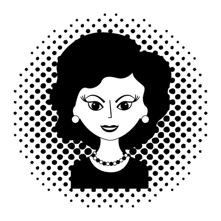 cute woman portrait retro style pop art vector illustration black and white