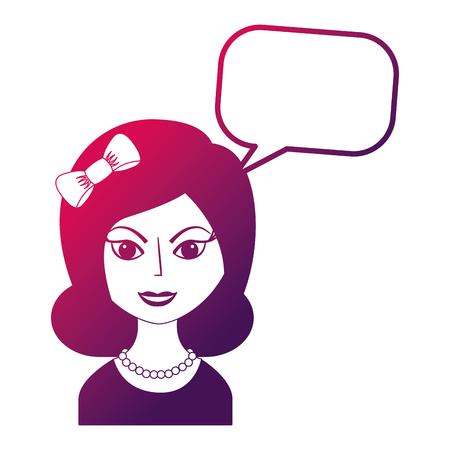beautiful woman with headband retro style speech bubble vector illustration neon design
