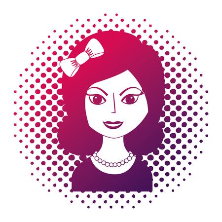 beautiful woman with headband retro style pop art vector illustration neon design