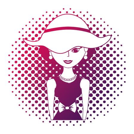 elegant woman with hat character retro pop art vector illustration neon design