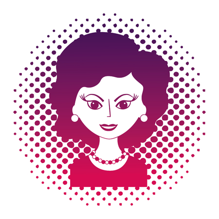 cute woman portrait retro style pop art vector illustration neon design