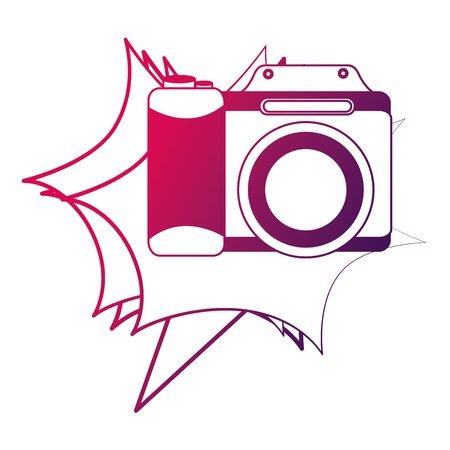 photographic camera lens retro vintage vector illustration neon design Illustration
