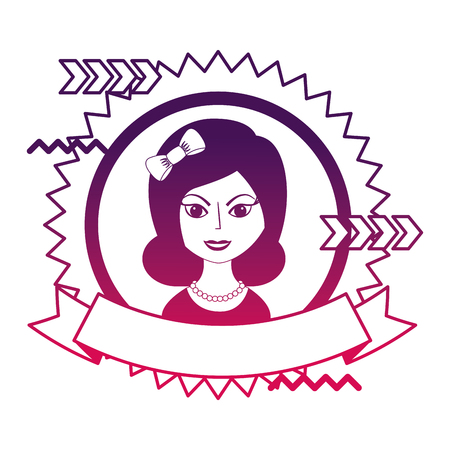 beautiful woman with headband retro style stamp vector illustration neon design Çizim