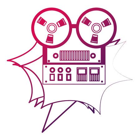 reel to reel tape recorder retro vintage vector illustration neon design