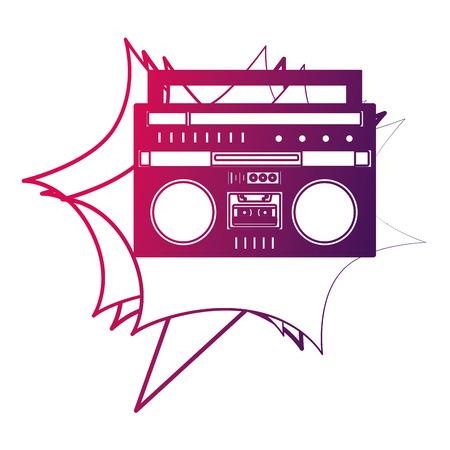 boombox radio stereo cassette music retro vector illustration neon design Illustration
