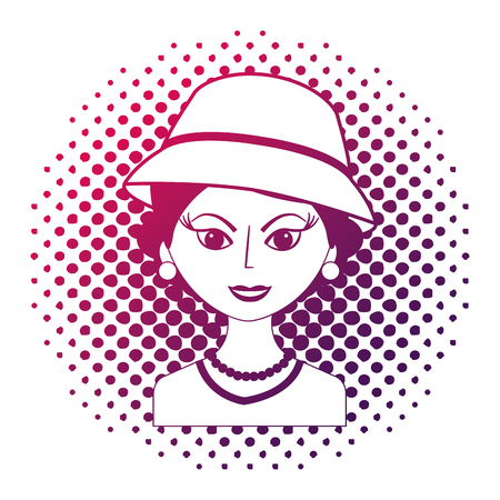 fashionable woman with hat retro style pop art vector illustration neon design
