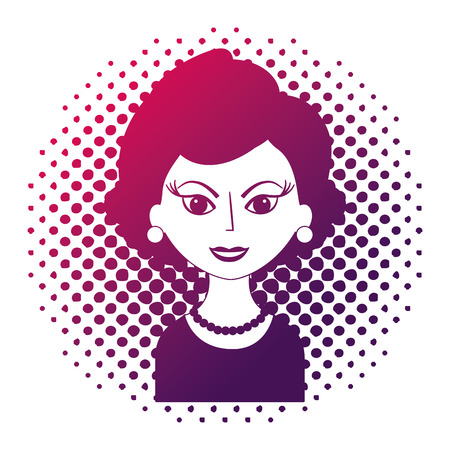 beautiful woman character classic style pop art vector illustration neon design