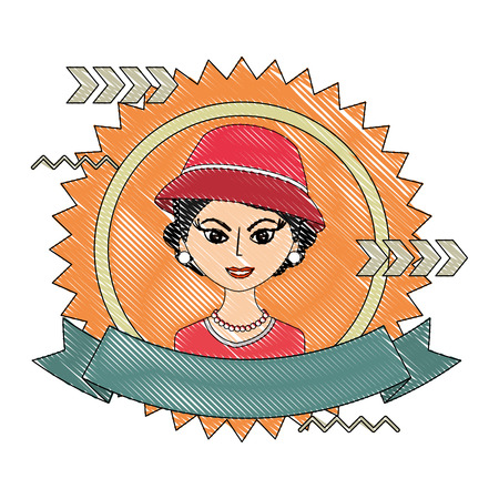 fashionable woman with hat retro style stamp vector illustration drawing