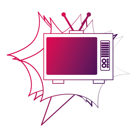 television device retro vintage style vector illustration neon design