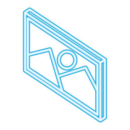 photo image media isometric blue neon vector illustration