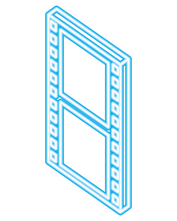 film strip movie isometric blue neon vector illustration