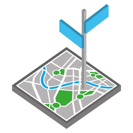 map guide with signaling isometric icon vector illustration design Foto de archivo - 102243458