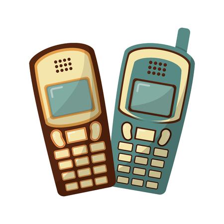 old cellphones retro style vector illustration design Banque d'images - 102243481