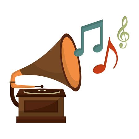 gramophone music retro with music notes vector illustration design Stockfoto - 102243483
