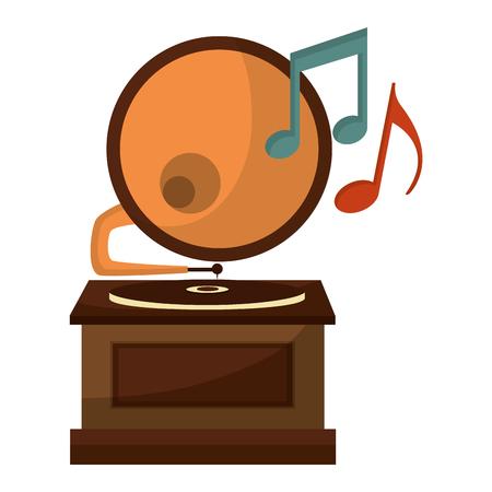 gramophone music retro with music notes vector illustration design