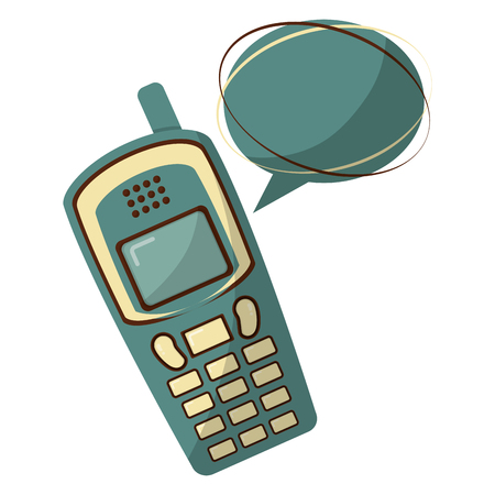 old cellphone with speech bubble retro style illustration design