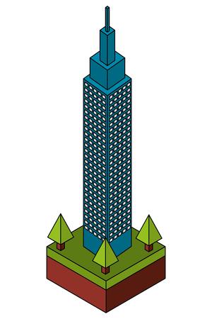 building cityscape isometric icon vector illustration design Illustration