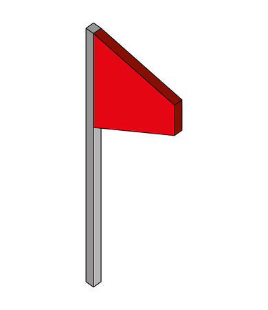 flag marker in stick isometric icon vector illustration design
