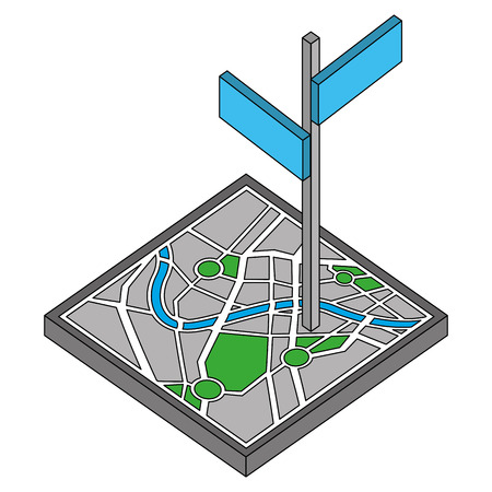 map guide with signaling isometric icon vector illustration design