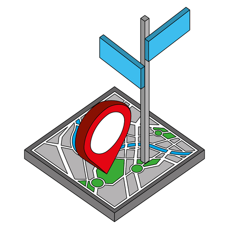 map guide with signaling with pin location isometric icon vector illustration design