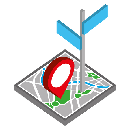 paper map guide with signaling with pin location isometric icon vector illustration design Ilustração