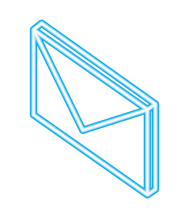 email message communication isometric blue neon vector illustration Illustration