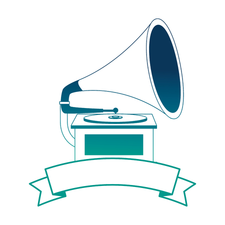 gramophone music retro with ribbon vector illustration design