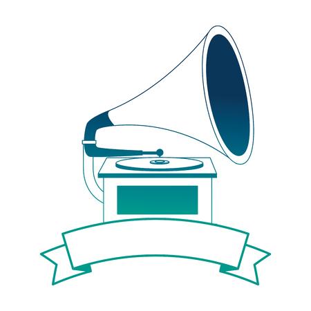 gramophone music retro with ribbon vector illustration design