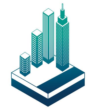 buildings cityscape isometric icon vector illustration design