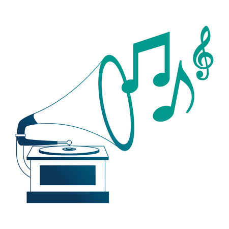 gramophone music retro with music notes vector illustration design Stockfoto - 102243584