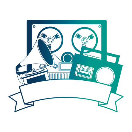 video tape player with gramophone and radio retro vector illustration design