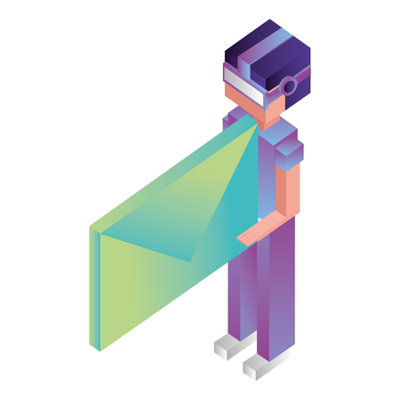 futuristic man with reality virtual mask and envelope isometric vector illustration design Çizim