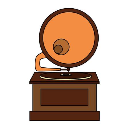 gramophone music retro icon vector illustration design