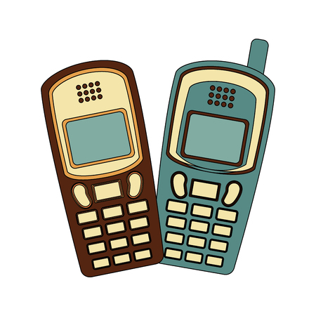 old cellphones retro style vector illustration design Ilustração