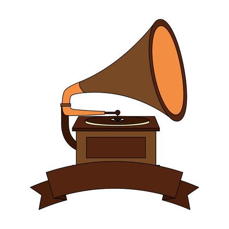 gramophone music retro with ribbon vector illustration design Stockfoto - 102243598
