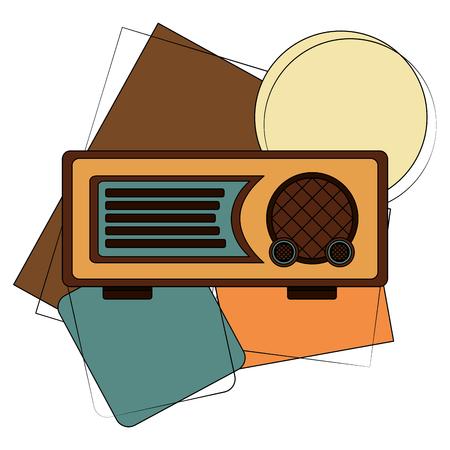 radio music retro style vector illustration design
