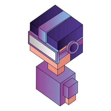 futuristic man with reality virtual mask isometric vector illustration design Illustration