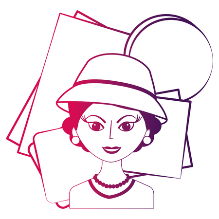 fashionable woman with hat retro style vector illustration neon design