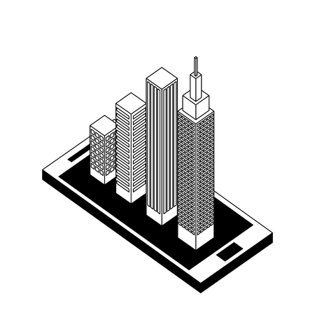 smartphone wit buildings cityscape isometric icon vector illustration design Illustration
