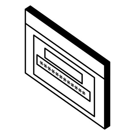 webpage template with password isometric vector illustration design Ilustração