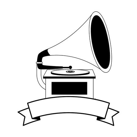 gramophone music retro with ribbon vector illustration design Stockfoto - 102243649