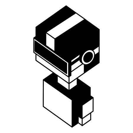 futuristic man with reality virtual mask isometric vector illustration design 向量圖像