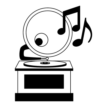 gramophone music retro with music notes vector illustration design