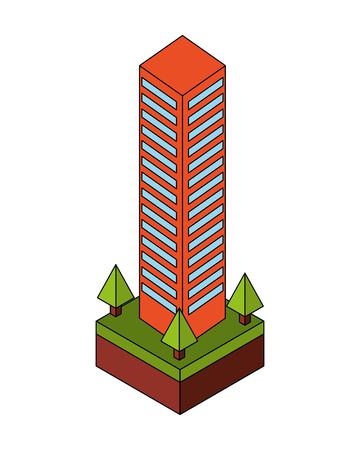 building cityscape isometric icon vector illustration design Ilustração