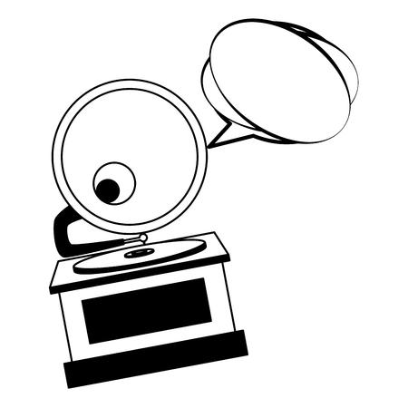 gramophone music retro with speech bubble vector illustration design