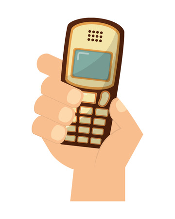 hand with old cellphone retro style vector illustration design Illustration